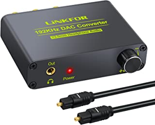 LiNKFOR 192kHz DAC Digital to Analog Audio Converter Dolby AC-3 DTS 5.1CH Audio Decoder Support Volume Control Optical Coaxial Toslink to RCA L/R 3.5mm Jack Adapter Converter for HDTV PS3 PS4 TV Box
