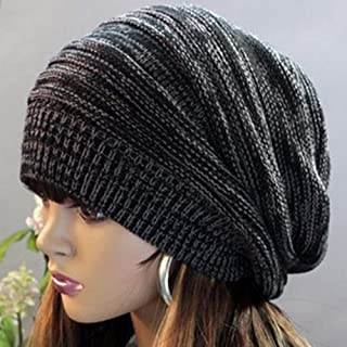 Un ncie Casual Slouch Baggy Beanie Cap Slouchy Skull Hat Knit Hat(Black)