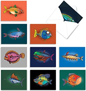 Fishtoons Thank You Greeting Cards with Envelopes, Say Thanks for Wedding, Baby Shower, Thanksgiving, Box of 10, All Occas...