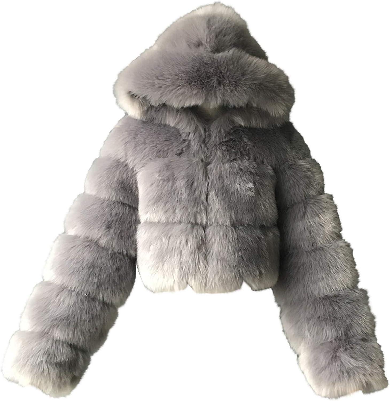HGWXX7 Womens Coat Hoodies Plus Size Faur Fur Jacket Long Sleeve Open Front Oversized Crop Top Winter Coats Gray
