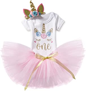 NNJXD Unicorn Rainbow Newborn Baby Girl 1st Birthday Party Dress 3 Pcs Outfits Romper+Tutu Dress+Headband