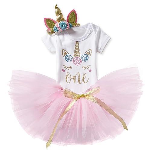 5e78b8622 NNJXD Girl Newborn It's My 1st Birthday 3 Pcs/4 pcs Outfits Romper+Skirt