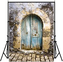 FUT 3D Retro Cement Wall Blue Door & Brick Floor LESS CREASE Backdrop Background
