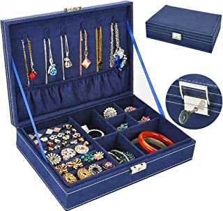 Jewelry Box for Women, QBeel Single Layer 25 Compartments Necklace Jewelry Organizer with Lock Travel Jewelry Display Holder for Earrings Bracelets Rings Necklace Watches - Deep Blue