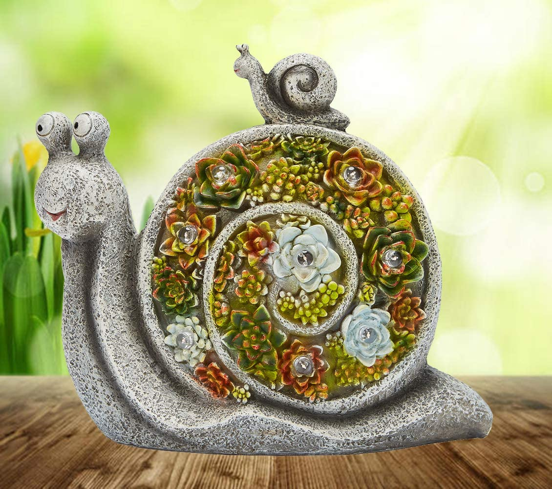 JHVYF Garden Statue Snail Figurine Translated Ranking TOP8 Sc Animal Resin Powered Solar