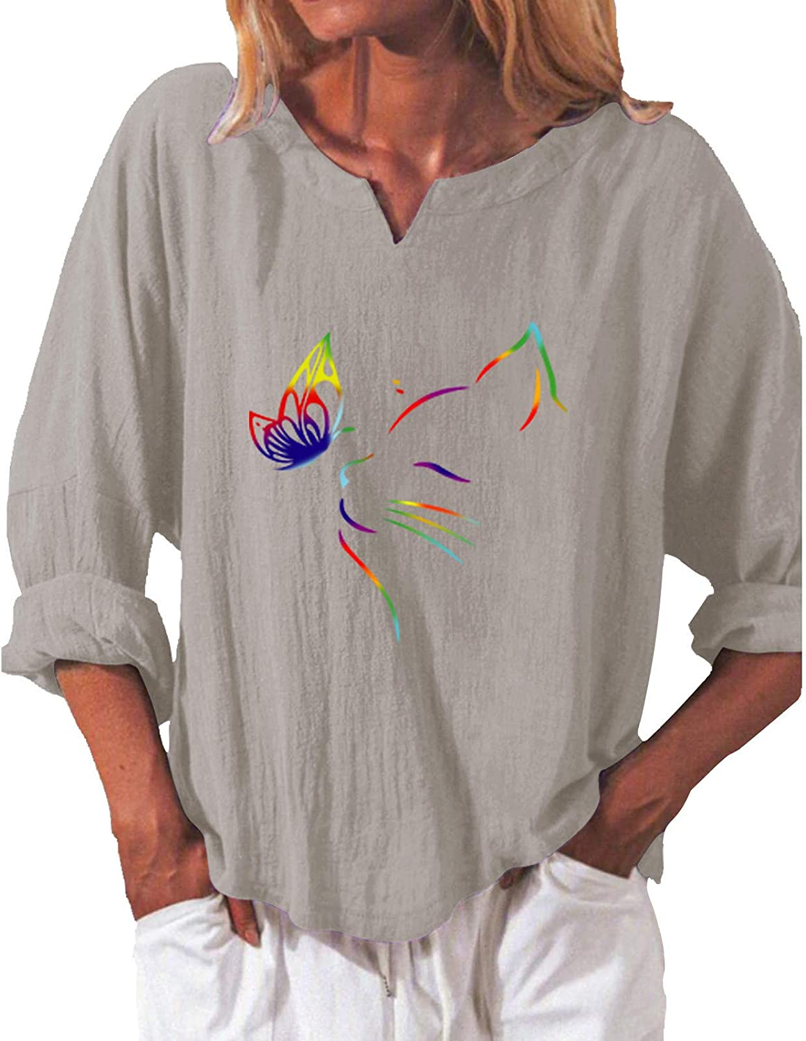 Forwelly Plus Size Linen Shirt for Women Ladies Crew Neck Tee Tops Long Sleeve Pullover