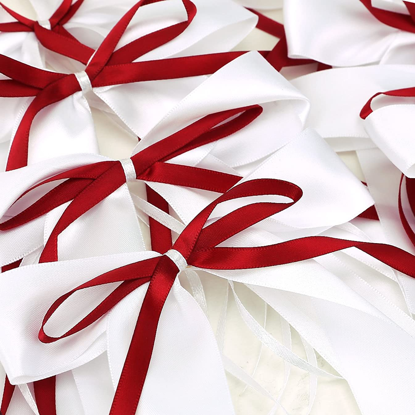 Satin Ribbon Bows For Wedding Pew Gift Box Favours Card Party Decorations DIY (10 red/white)