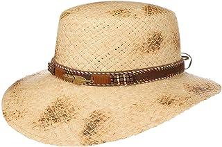 Lipodo Cappello di Paglia Branded Nastro Pelle Donna - Made in Italy da Sole Estivo Cappelli Spiaggia con Visiera, Fascia ...