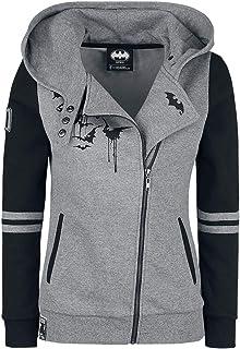 Batman Bat-Logo Femme Sweat-Shirt zippé à Capuche Gris chiné/Noir, , Slim Fit