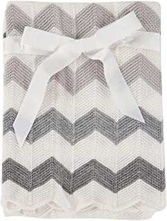 Cozyholy Elegant Knit Blankets Soft Fancy Baby Throw for Cribs Neutral Stroller Cover with Ribbed Border for Girls Boys, 40x30 inch, Chevron (Grey)