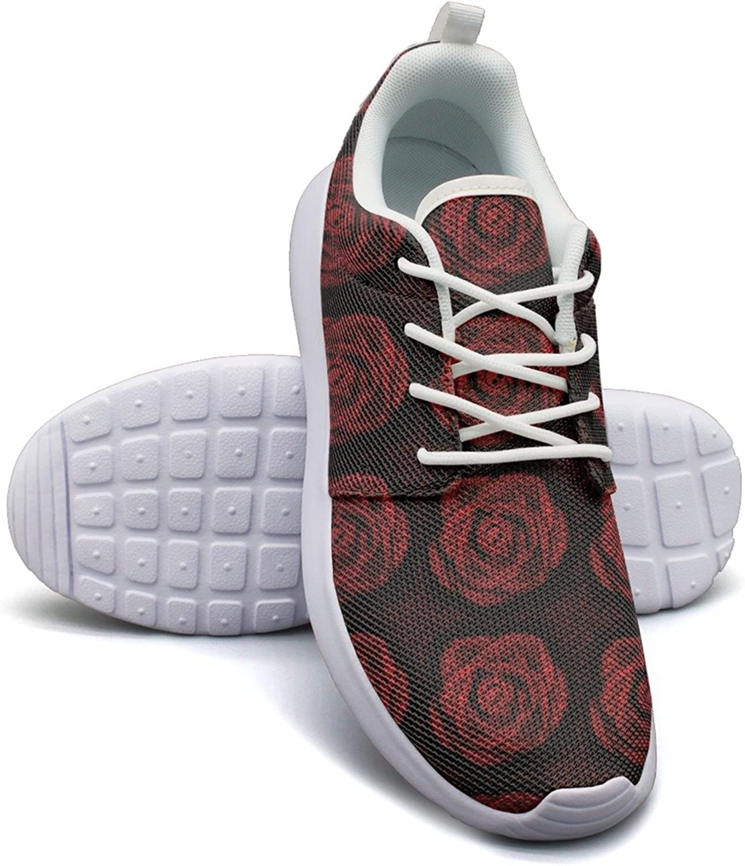 Red pink Of Skulls And Bones Women's Lightweight Mesh Running Sneakers Cute Tennis shoes