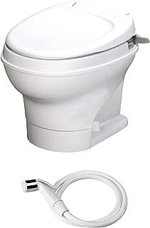 Aqua-Magic V RV Toilet Hand Flush with Hand Sprayer / Low Profile / White - Thetford 31657
