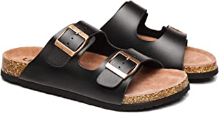 Summer Sandals Cork Footbed Leather Beach Slip-on Flats Contoured Insole Sandals Women Men Mick