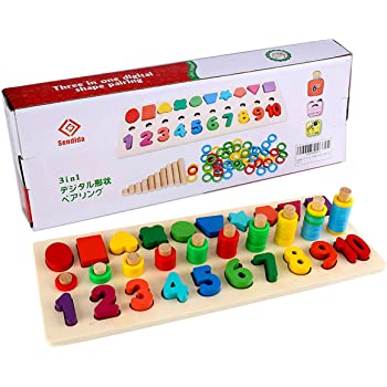モンテッソーリ 積み木 幼児 学習 パズル - Sendida 知育玩具 数字 パズル 型はめ 幼児 木製 1-10 おもちゃ パズル 数字 ゲーム 知育おもちゃ 学習玩具 ブロックおもちゃ 数学力アップ
