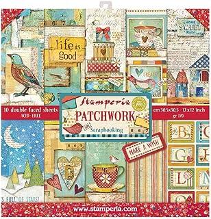 "STAMPERIA Patchwork - Bloc de papel (10 hojas, doble cara), Multicolor, 30.5 x 30.5 (12"" x 12""), SBBL49"