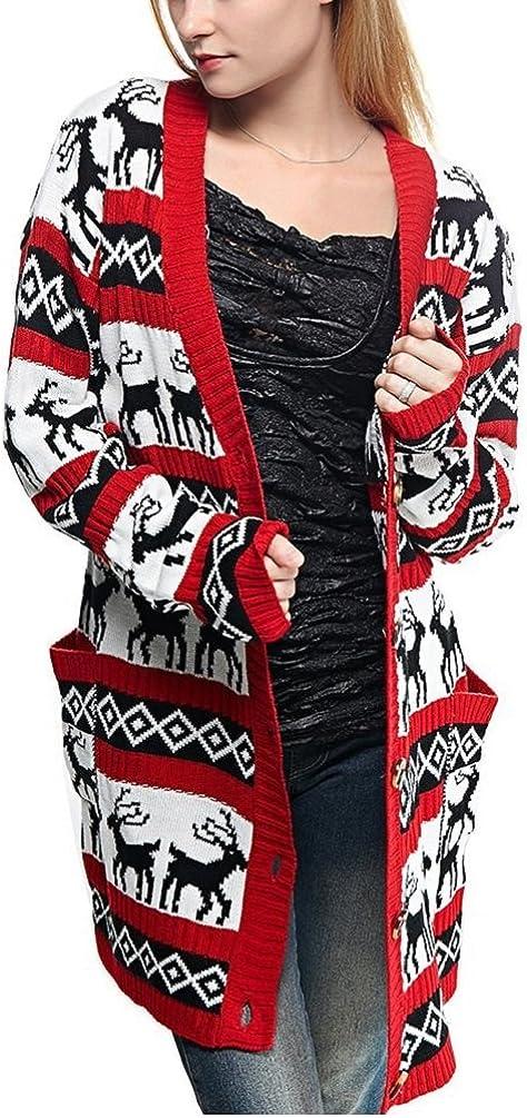 v28 Womens Oversized Christmas Reindeer Cardigan