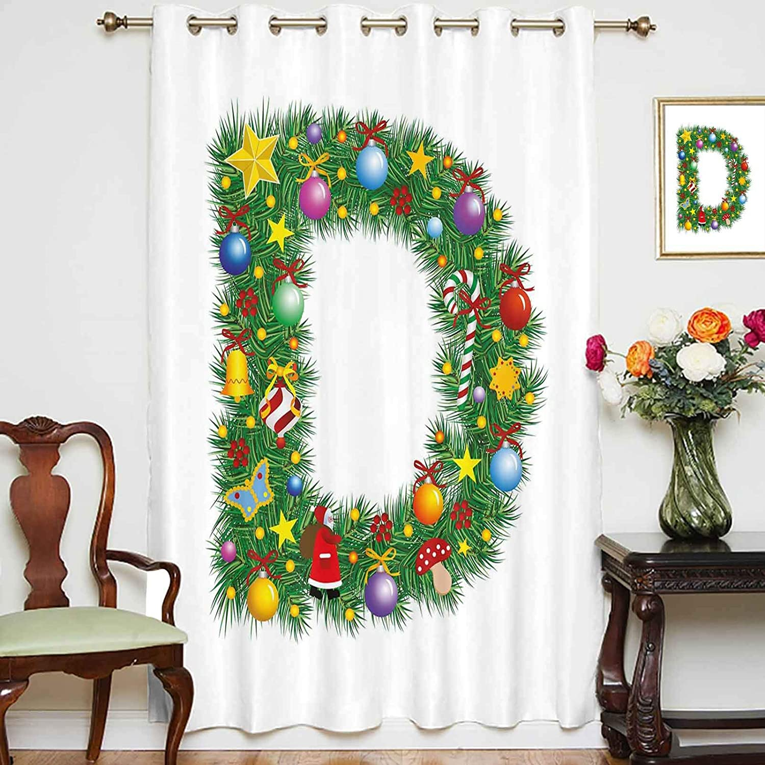 El Paso Mall Direct stock discount oobon Blackout Shading Curtains Pine Pattern with Vibrant C Tree