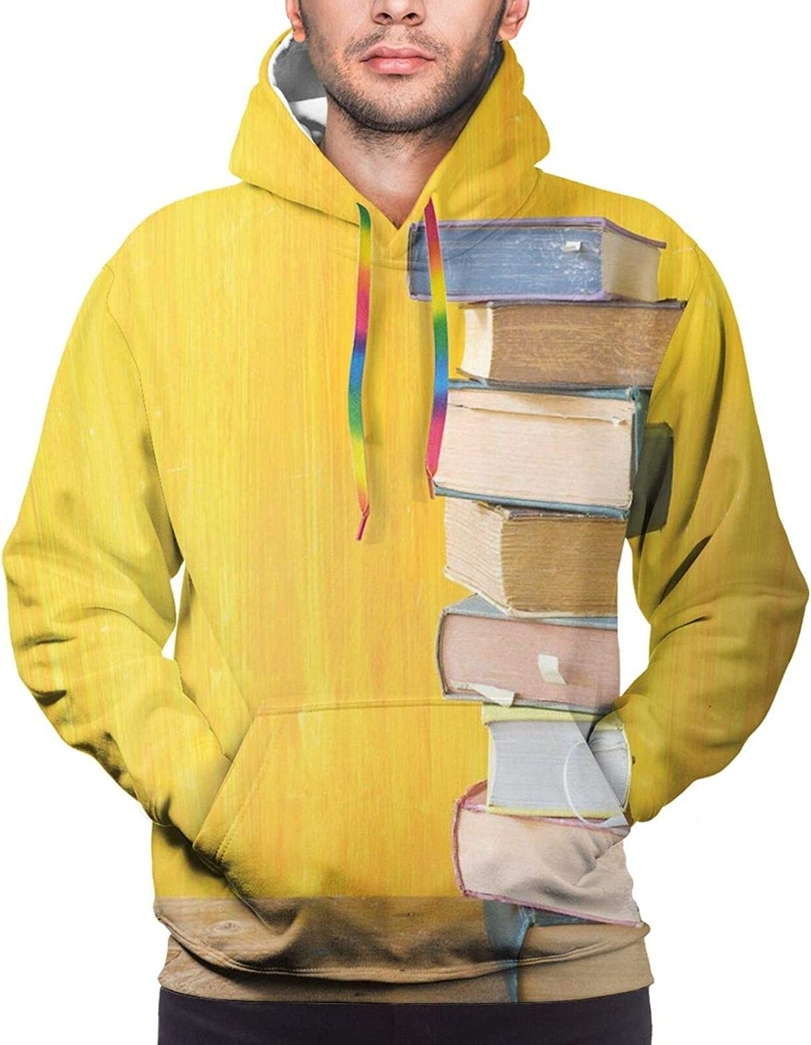 Men's Hoodies Sweatshirts,Cute Minimal Photo with Stack of Old Novels Front of A Yellow Toned Grungy Wall