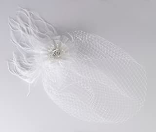 Lillian Rose Veil w/White Feather Decoration