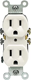 Leviton M24-05320-WMP Straight Blade Duplex Receptacle With Ears, 125 V, 15 A, 2 Pole, 3 Wire, 10 pack, White, 10 Piece