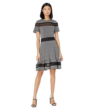 MICHAEL Michael Kors Cheeky Check Mix Short Sleeve Dress (White) Women