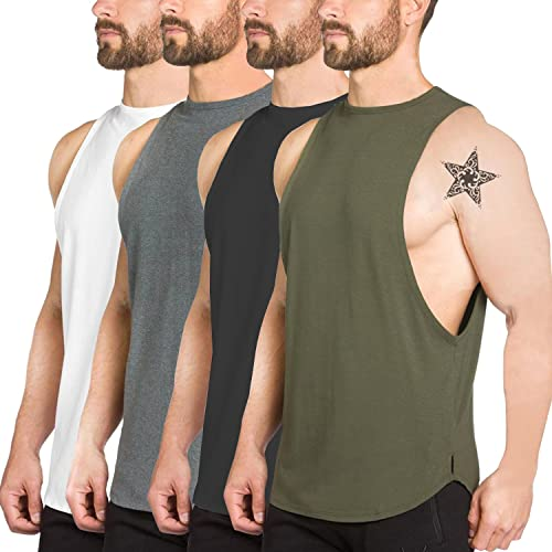 d674db9c34c923 PAIZH Men s Fitted Muscle Cut Workout Tank Tops Gym Bodybuilding T-Shirts