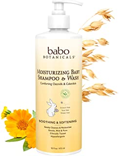 Babo Botanicals Moisturizing Baby 2-in-1 Shampoo & Wash with Oatmilk and Organic, Hypoallergenic, Tear-free, Vegan, Calend...