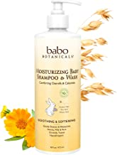 Babo Botanicals Moisturizing Baby 2-in-1 Shampoo & Wash with Oatmilk and Organic Calendula, Hypoallergenic, Tear-free, Veg...