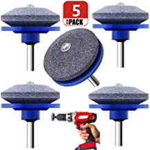 Chou 5 Pack Lawn Mower Blade Sharpener, Grinder Wheel Stone, Lawn Mower Blade Balancer Tool for Any Power Drill Hand Drill, for Garden, Courtyard, Kitchen (Blue)