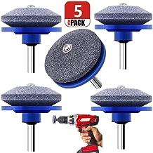 Chou 5 Pack Lawn Mower Blade Sharpener, Grinder Wheel Stone, Lawn Mower Blade Balancer Tool for Any Power Drill Hand Drill, for Garden, Courtyard, Kitchen (Blue)