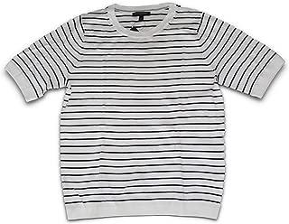 Banana Republic Women's S/S Semi-Fit Forever Stripe Pointelle Crew Neck Sweater (Large) White