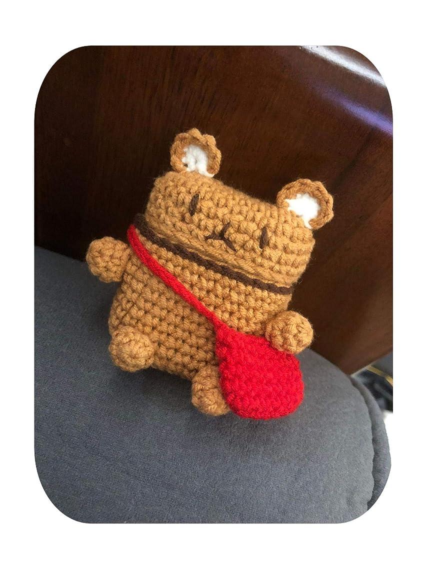 動脈音声学満州ニットAirPodsカバー冬クリエイティブ漫画ニットぬいぐるみアップルワイヤレスヘッドセットプロに適した-小さな茶色のクマの赤いバッグ-AirPods保護カバーユニバーサル