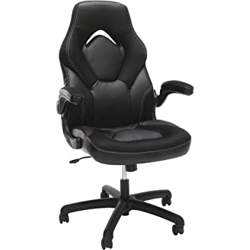 OFM Essentials Collection Racing Style Bonded Leather Gaming Chair, in Black (ESS-3085-BLK)