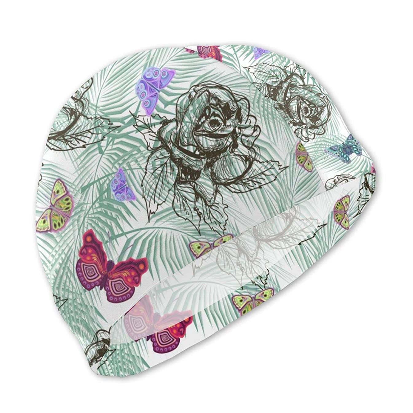 Lanswim Swim Cap for Girls Boys Kids Teens, Waterproof Hair Swimming Caps Special Printed Kids Comfortable Fit Swim Cap for Monochrome Roses and Colorful Butterflies
