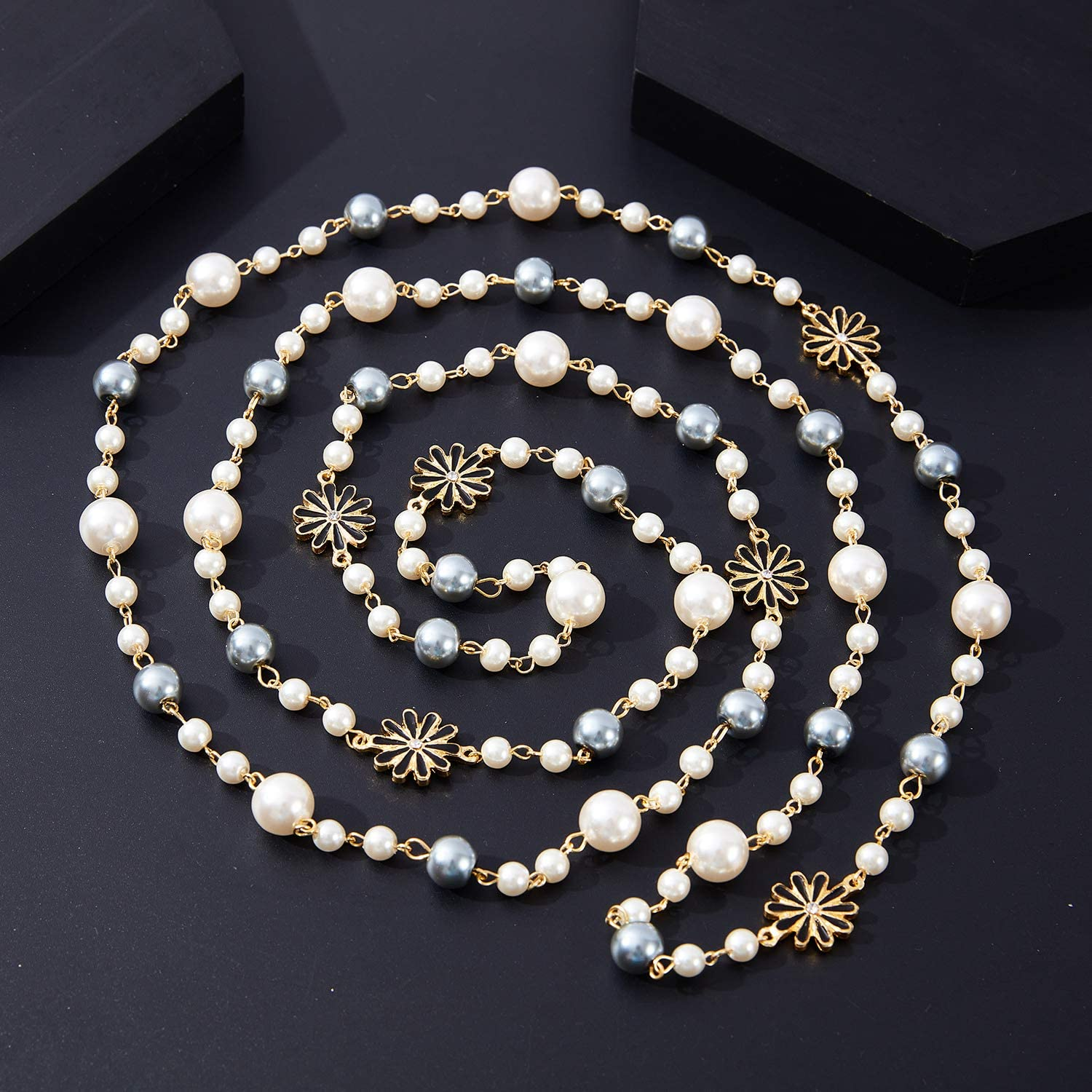 Long Simulated Pearl Necklace Layered – Multi Strand Shell Pearl Chic Sweater Necklace Vintage Pearl Necklace for Women and Girls