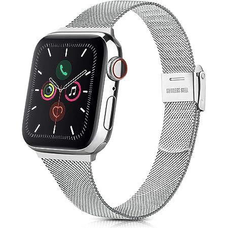 コンパチブル Apple Watch バンド 38mm 40mm 42mm 44mm,アップルウォッチバンドステンレス留め金製,iWatch 通用ミラネーゼループ ベルトapple watch Series 5 4 3 2 1に対応 (38mm/40mm, シルバー)