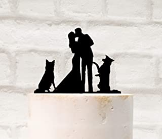 Two Border Collie Dogs Silhouette Wedding Cake Topper