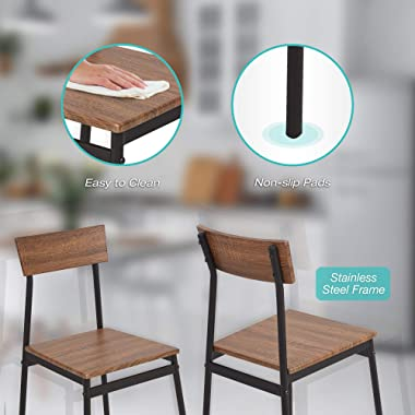 Dporticus 5-Piece Kitchen & Dining Room Sets Rustic Industrial Style Wooden Kitchen Table and Chairs with Metal Frame- Br