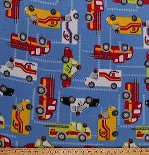 Fleece Emergency Vehicles Firetrucks Fire Trucks Ambulances Police Cars on Blue Fleece Fabric Print by The Yard (5057M-12A-blue)