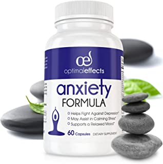 Natural Supplements for Stress and Anxiety Relief by Optimal Effects   Ashwagandha - 5HTP - Stress Relief   Anti Anxiety & relieve Chronic Stress   Help Calming Sleep - 60 Veg Capsules