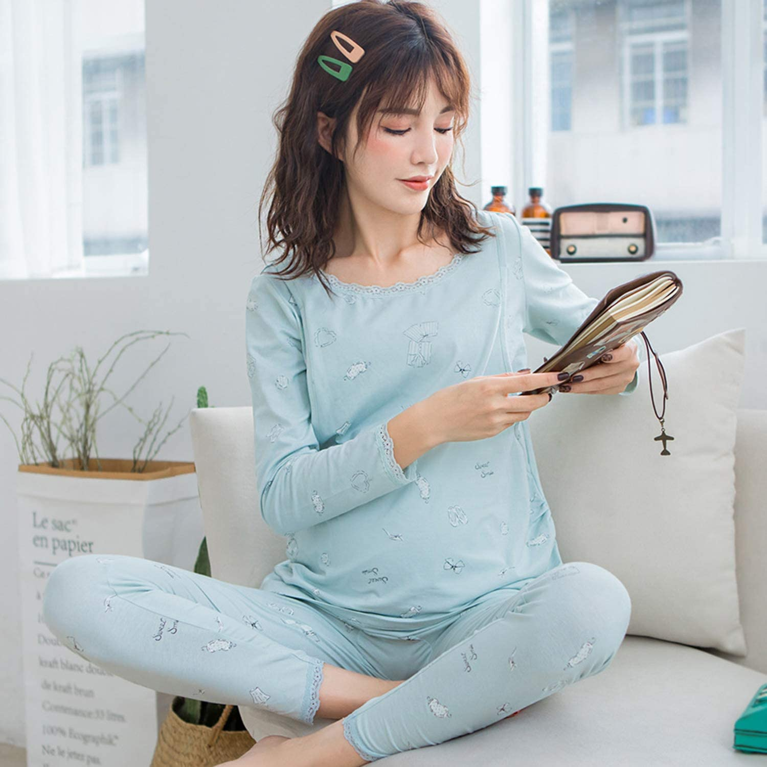 Cotton Pregnant Woman BreastFeeding Ladies' Pajamas Long Sleeve Trousers 2Piece Set