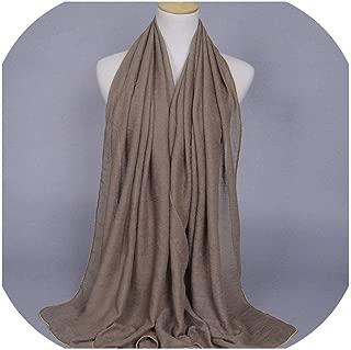 Plain Solid Color Gold Beads Chain Viscose Shawl Muffler Foulard Women Scarves Kerchief Wrap Headband Muslim Hijab Cape