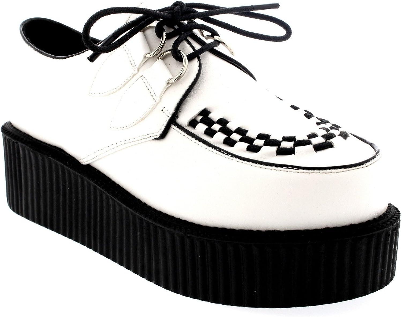Womens Double Platform Punk Goth Flatform Bredhel Creepers Retro shoes - White PU - 10 - SK0009K