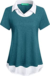 Womens Short Sleeve Collared Patchwork Swing Office...