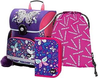 Schulranzen Mädchen Set 3 Teilig - Schultasche ab 1. Klasse - Grundschule Ranzen mit Brustgurt - Ergonomischer Schulrucksa...