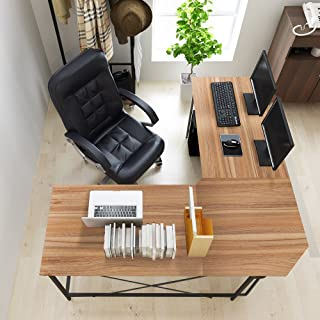 DlandHome L-Shaped Computer Desk 59 inches x 59 inches, Composite Wood and Metal, Home Office PC Laptop Study Workstation Corner Table with CPU Stand, Oak and Black Legs, ZJ02-OB