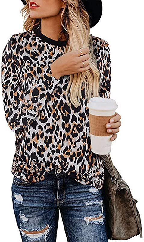 TANLANG Womens Casual Cute Shirts Leopard Print Tops Long Sleeve Top Blouse Crew Neck Baggy Outwear Soft Jacket Tunic
