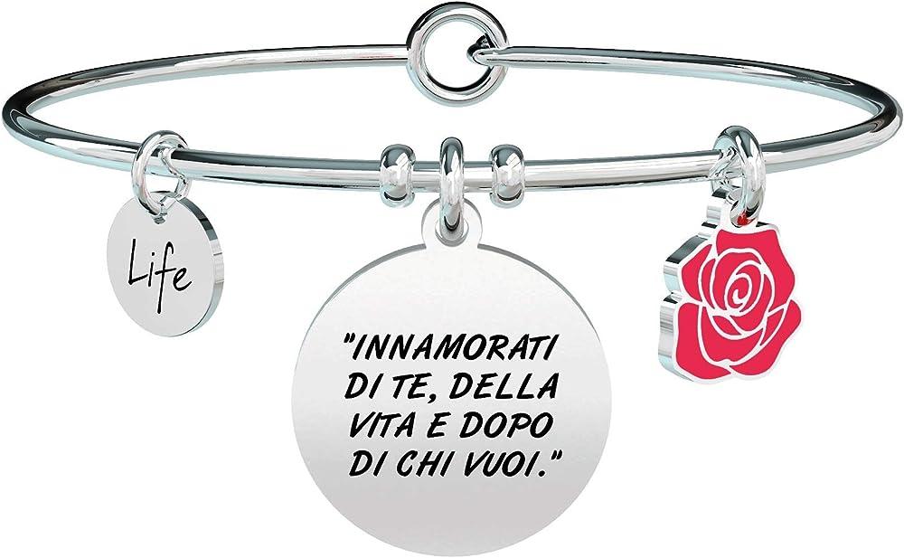 Kidult,bracciale per donna,in acciaio 316l, con ciondoli,innamorati di te, della vita e dopo di chi vuoi XYZ-000817