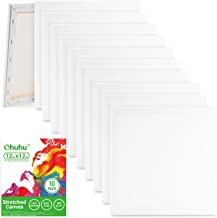 Ohuhu Stretched Canvas 10 Pack, 12x12 Inch Painting Canvas Boards, Professional Primed White Blank- 100% Cotton Artist Can...