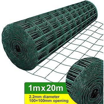 Amagabeli 1M X 20M Malla de Alambre Cuadrada Verde - RAL6005 Malla Tamaño 100 x 100 mm Rollo de Malla de Alambre Valla Jardín Alambrada HC04: Amazon.es: Bricolaje y herramientas